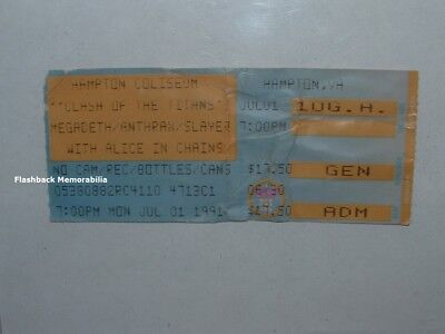 MEGADETH / ALICE IN CHAINS Concert Ticket Stub 1991 HAMPTON VA Slayer ANTHRAX