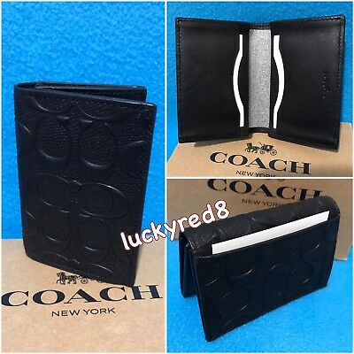 NEW Coach Men's Signature Crossgrain Leather Bifold  Card Case Black F12023 $125