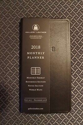 Gallery Leather Pocket Size Monthly Planner 2018 - Black - NEW - Free US Ship