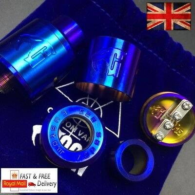 Goon V1.5 Rda Heat Treated Blue And Rainbow + Squonk Pin + Spares + Pouch Uk