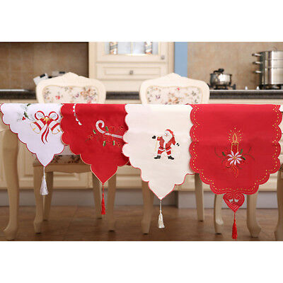 Christmas hollow Table Flag Flower Embroidery Fabric Cloth Long Mat EmbroideredH