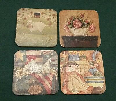 Diane Knott Americana Coasters Doll Chicken Floral Sheep