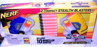 #933 NRFB Hasbro Nerf 2 Compact Stealth Blasters with 10 Whistler Darts