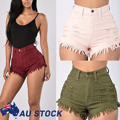 AU Women Slim Fit Stretch Solid Skinny High Waisted Denim Shorts HOT Pants Jeans