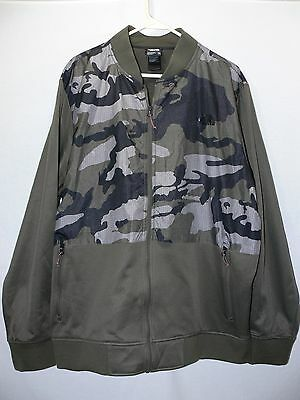 The North Face Full Zip Jacket Men Size Xxl Green Gray Camo Polyester
