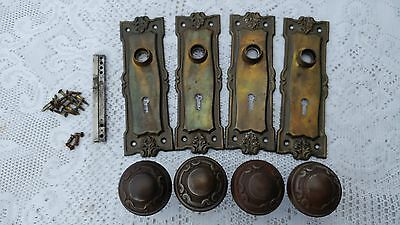 2 Matching Antique Rare Ornate Door Knob And Back Plate Sets