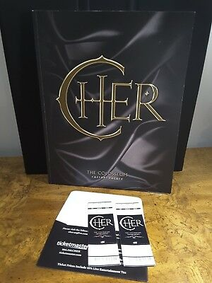 2011 Cher The Colosseum Caesars Palace 2 Tickets + Souvenir Program Book Vol 1