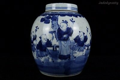 A Chinese Beautiful Blue and White Porcelain Characters Pot