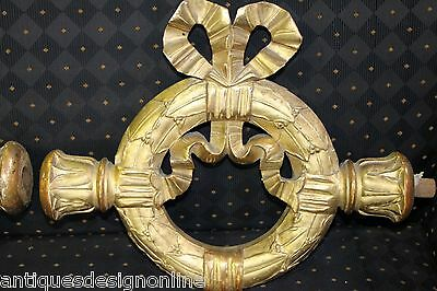 3x big carved wood antique gold gilt French Empire 1810 curtain WREATHS Napoleon
