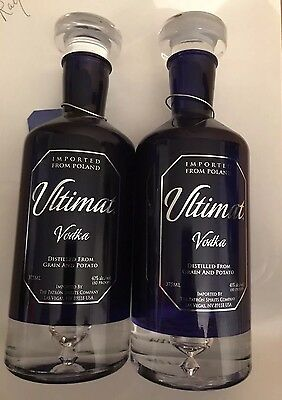 2 ULTIMAT VODKA Genuine Crystal Decanter W Stopper And Hang Tag