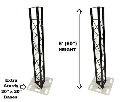 Two (2) Totem 1.5m 5ft Black Triangle Metal Truss Tower + Base Vertical System