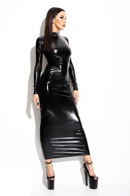 langes schwarzes Wetlook-Kleid Dorothea von Demoniq Mistress Collection