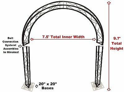 BLACK TRUSS ARCH KIT 9.7FT Height Mobile Portable DJ Lighting System Metal Bolts