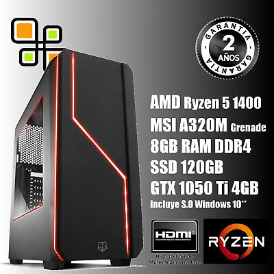 PC Sobremesa Gaming AMD Ryzen5 1400 - 8GB DDR4 - GTX 1050Ti-SSD 120 /HDMI USB3.0
