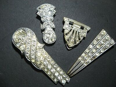 4 Art Deco Dress Clip Pin Brooch Kleiderclip Strass Gablonz Czech France ?