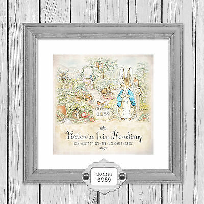 Personalised Peter Rabbit Print For New Baby, Christening Gift *Not Framed*