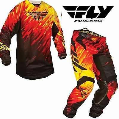 FLY RACING Motocross Pants & Jersey Combo NEW! #34 /Lg Red/Yellow MX Dirt bike