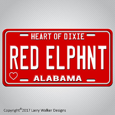 RED ELPHNT ELEPHANT ALABAMA  Aluminum License Plate Tag New