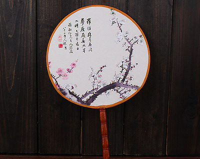 2 x Silk Fan Round Fans Bamboo Wooden Handle Traditional Chinese fans 传统竹扇 扇子