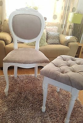 Shabby chic chair and matching stool. Next light mink fabric.
