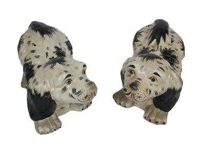 Pair Of Staffordshire Pottery Antique Style Dogs Spaniel Mantel Figurines