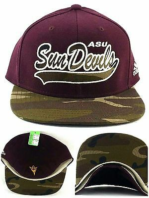 Arizona State Sun Devils New ASU Adidas Maroon Camo Flex Era Fitted Hat Cap  S  c67476d956d9