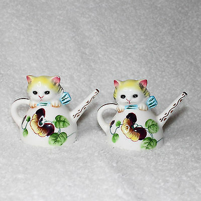 Vintage PY Japan Anthropomorphic Cat Kittens in Teapots Salt & Pepper Shakers
