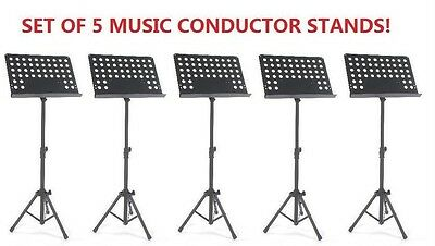 5XBlack Music Conductor Stand Adjustable Metal Sheet Tripod Holder Folding Stage