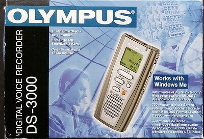 Olympus Digital Voice Recorder DS-3000 in box with instruction 32 MB Memory Card