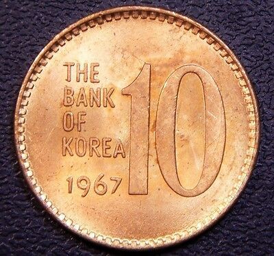 *KEY DATE* *BRIGHT UNC* South Korea 10 Won 1967 Superb Coin!!
