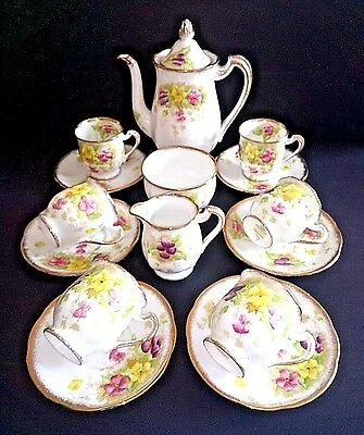 Royal Standard Stunning Full Coffee Set Charmaine Pattern  -  Great Condition