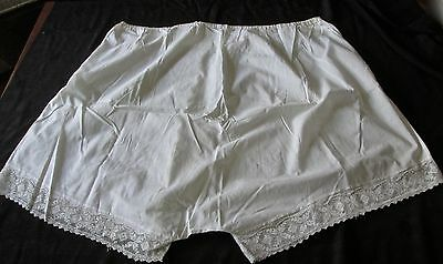 antique white cotton women's bloomers, very large size, filet lace trimmed legs