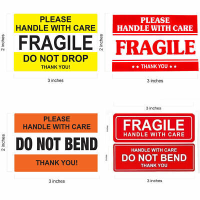 "FRAGILE STICKER 1"" x 3"" & 2"" x 3"" FRAGILE HANDLE WITH CARE Stickers Do Not Bend"