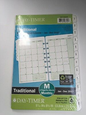 """NEW 2017 DAY-TIMER TRADITIONAL Size 4 MONTHLY Planner Refill 5 1/2""""x 8 1/2 87229"""