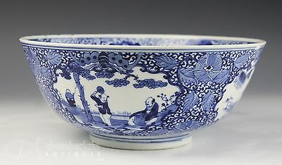 Large Old Antique Chinese Blue White Porcelain Bowl With Figures And Mark
