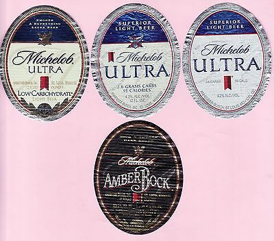 """SET of 4 DIFFERENT BEER LABELS """"MICHELOB"""""""