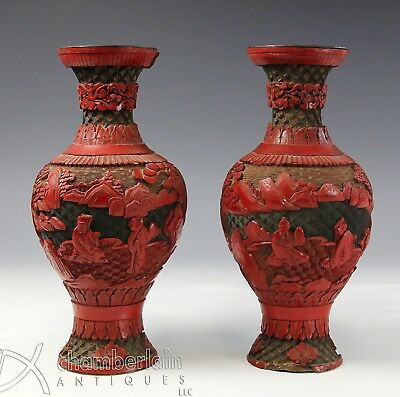 Pair Of Antique Chinese Carved Three Color Cinnabar Lacquer Vases