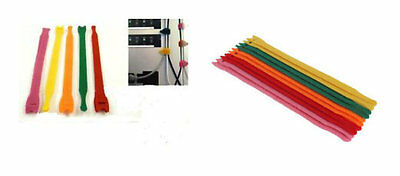 20 x ASSORTED COLOURS CABLE/CORD TIES/TIDIES-ORGANISER-VELCRO HOOP & LOOP