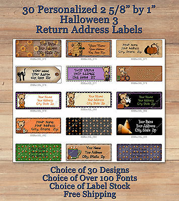 Colourful Whimsical 30 Custom HALLOWEEN FALL Address Labels 3 Ghosts Cats Crows
