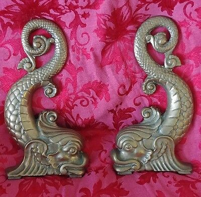 Gorgeous Antique Brass Dolphin Andirons Circa 1890's - Grandmother's Estate!