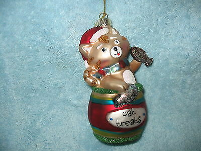 """Cat Treats"" Glass Ornament  Tabby Kitty Cat in Barrel of Treats & Fish Goodies"
