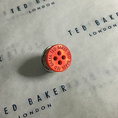 Mens Ted Baker Red Mother Of Pearl Shirt Buttons Metal Tie Lapel Pin Tack Gift