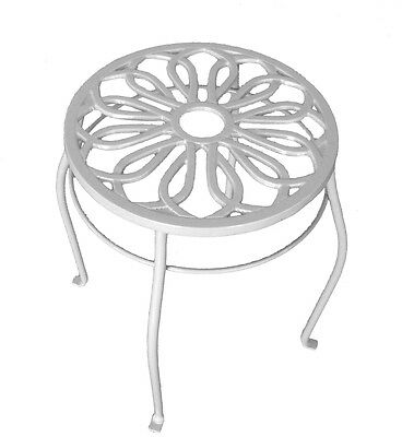 15 Inches Cream Indoor and Outdoor Round Cast Iron Top Steel Frame Plant Stand