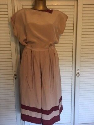 Iconic 1980s Designer Peter Metchev Silk Skirt & Top Mushroom with Burgundy Trim