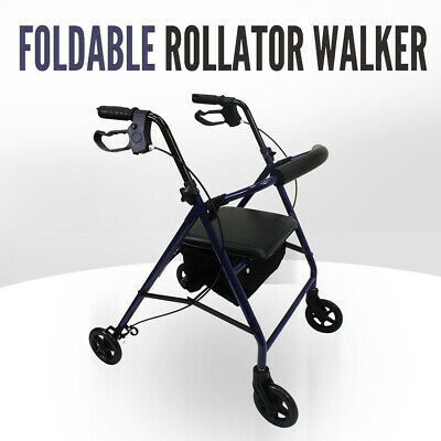 Folding Walker Rollator Mobility Walking Aid Frame Indoor Outdoor Medical Chair
