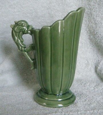 1940/50s SHAWNEE 828 Green Glazed Dolphin/Dragon Handled Pitcher (bottom marked)