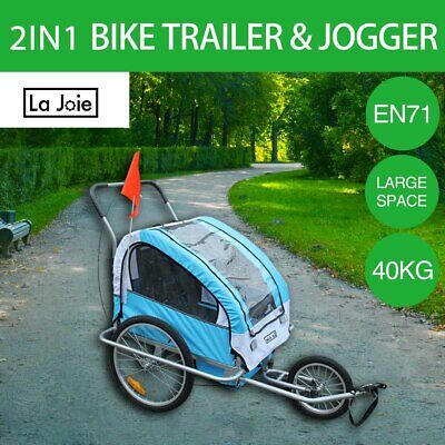 La Joie Kids Bike Trailer Bicycle 2 IN 1 Pram Stroller Children Jogger Blue