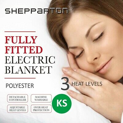 Heated Electric Blanket Washable Fitted Polyester Underlay Warm Bed King Single