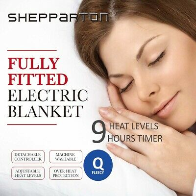 Fleecy Electric Blanket Heated Fully Fitted Washable Fleece Underlay Queen Bed