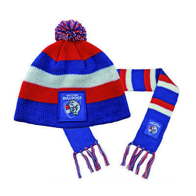 Western Bulldogs AFL Footy Baby Toddlers Beanie Scarf Pack